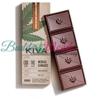 Kiva Espresso Dark Chocolate Bar CBD 100mg / THC 100mg